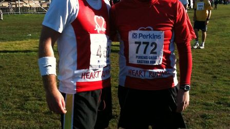 Adam (left) and Dan are running for the British Heart Foundation and Garden House Hospice