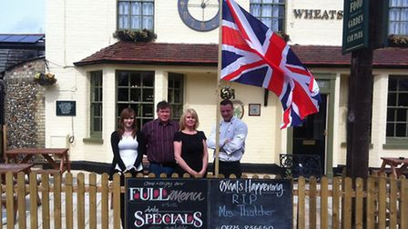 The Wheatsheaf in Duxford was showing its respect for Baroness Maggie Thatcher today by flying the f