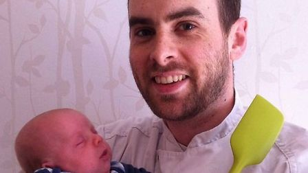 Chris and his seven week old son Ben