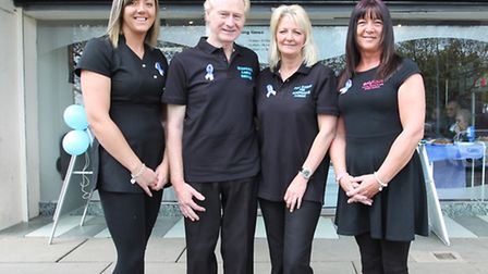 enVious salon owner Victoria Shadbolt with Chris and Cheryl Childs, and staff member Sharon Coe