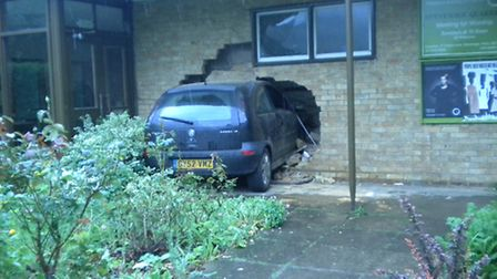 A car crashed into the Stevenage Quakers' home in Cuttys Lane, Stevenage, on June 8, 2012