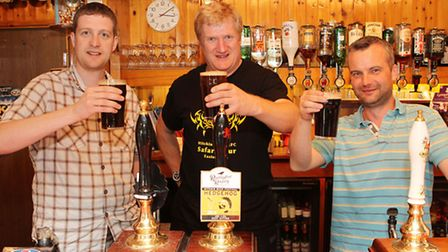 Hitchin Beer Festival organiser Jonathan Kirby, Hitchin Rugby Club's Simon Goodlad and Hitchin Round