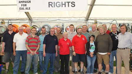 The group of volunteers setting up the Hitchin beer festival at Hitchin Rugby Club