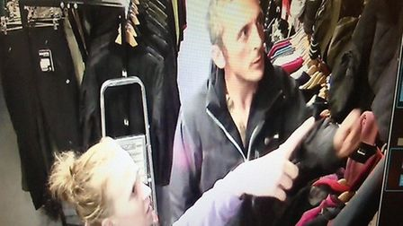 A CCTV image of two people police would like to speak to in connection with a theft from a Saffron W