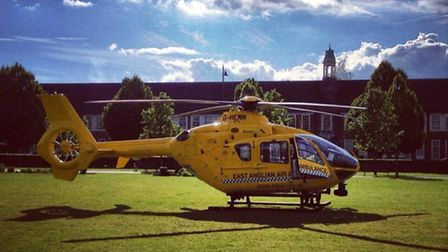 The air ambulance lands in Broadway. Pic by Dave Shaw