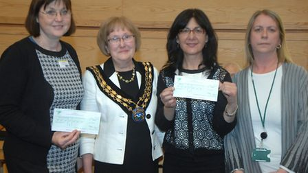 Past Uttlesford District Council chairman Christina Cant (second from left) with Georgeta Busuioc fr