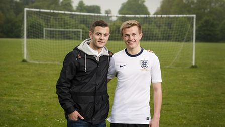 Jack Wilshere (left) with Jason Kelly, who's sporting the new Nike England shirt