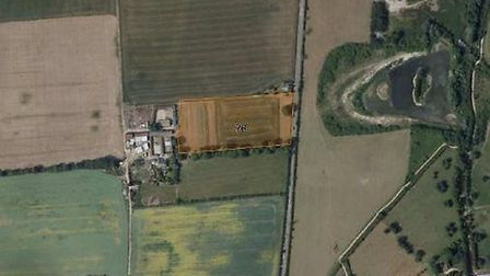Aerial view of the site south of Fairfield and west of Stotfold Road