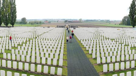 Tyne Cot Commonwealth War Graves Commission Cemetery, where 11,900 serviceman are buried