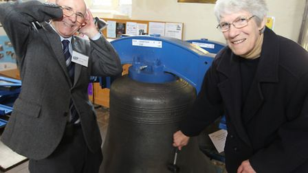 Robin Sternberg, church warden, with wife Wendy next to one of the new bells