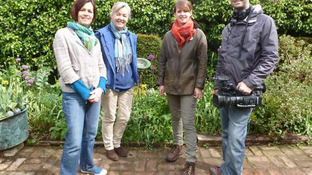 From left, Anne Cardwell, Helen Riches, Love Your Garden presenter Katie Rushworth and an ITV camera