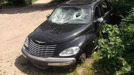 The Chrysler PT Cruiser which was recovered by UDC's enforcement team.