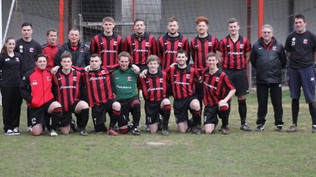 The 2012/13 team in front of the new stand at Catons Lane