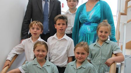 Andrew Holmes and pupils with Ruth Darvill, who will be the new headteacher from September.