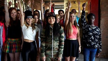 Gabz Gardiner with backing dancers on the set of her music video