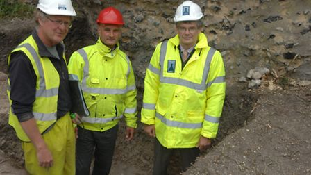 Trevor Ennis from Archaeology South-East, Robert Tate from contractors Noble & Taylor and Simon Mark