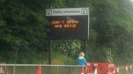 The 'don't drink and drive' message has been displayed since Monday