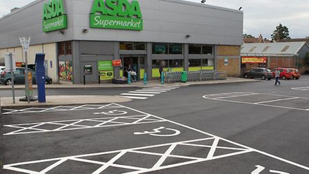 ASDA in Hitchin where resurfacing works have taken place in the car park