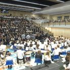 The hall, full including orchestra
