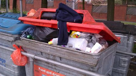 General waste dumped in the recycling bin for food and drink cans
