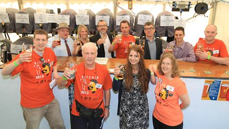 Volunteers and organisers from North Herts CAMRA, with Hitchin Round Table, Hitchin Rugby Club and C