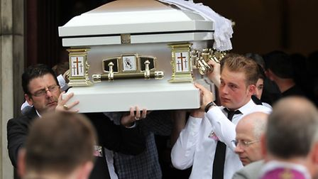 Thomas Ward's coffin is carried from the church