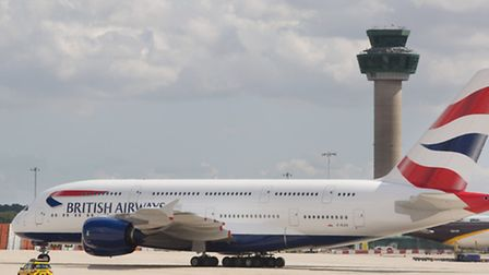 An Airbus A380 arrives at Stansted for the first time.