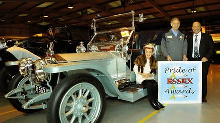 Susie Cornell with Paul Wood, managing director of P&A Wood and Dave Dennison with Rolls Royce Silve