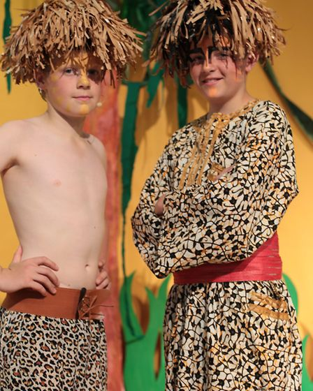 Alex Ealham and Henry Croft dressed in costume for the play