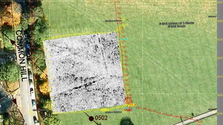 A geophysics image of the proposed dig site on Saffron Walden Common