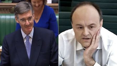 Jacob Rees-Mogg in the House of Commons (left) is asked about Vote Leave chief Dominic Cummings (rig