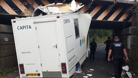 A white Vauxhall Movano van collided with a railway bridge in Great Chesterford. Picture: Joe Higham