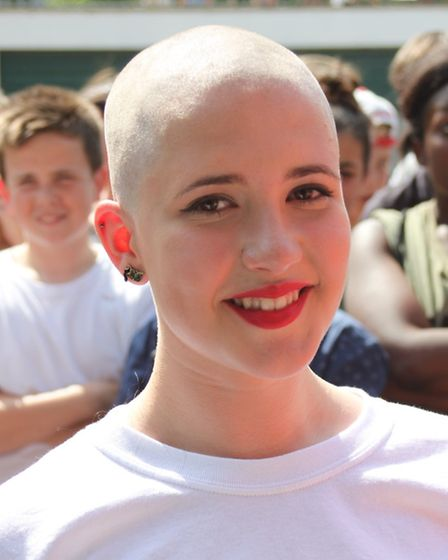 Sophia Keam after having her head shaved for charity
