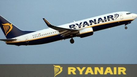 Ryanair jet taking off from Stansted