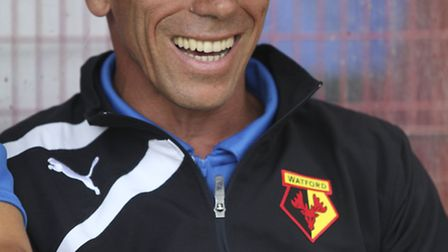 Gianfranco Zola in the dugout. Photo: Harry Hubbard