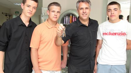 Shaun Dower, Jamie Barker, Dennis Ali, owner of Stone hairdressing, and Kyle Blizzard-Welch, picture