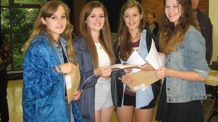Pupils at Hitchin Girls' School with their grades
