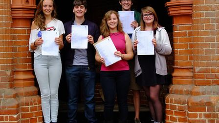 Friends' Year 11 students with their GCSE results. From left, Grace King, Dominic McGann, Sian Beest