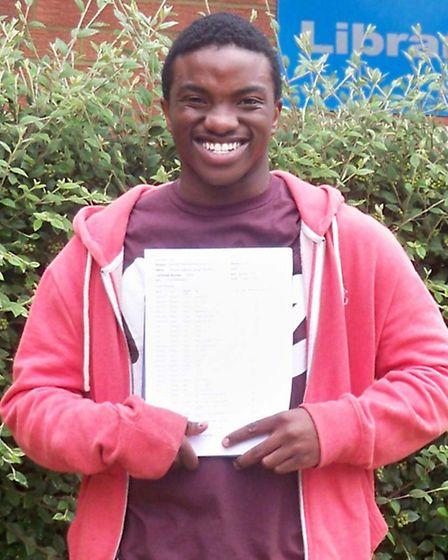 Stanford Sango, pictured at The Thomas Alleyne School, got two A*s and seven As