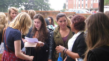 Students at Hitchin Girls' School open their GCSE results