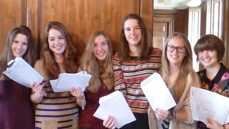 Girls at Princess Helena College with their results