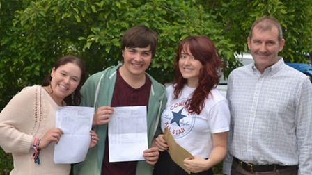 Barnwell School students (left to right) Emily Court, Liam Campbell and Laura Durrant celebrating th