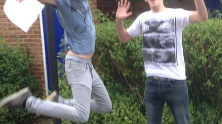 The Thomas Alleyne School students Matthew Whitby and Steffan Doherty jumping for joy after receivi