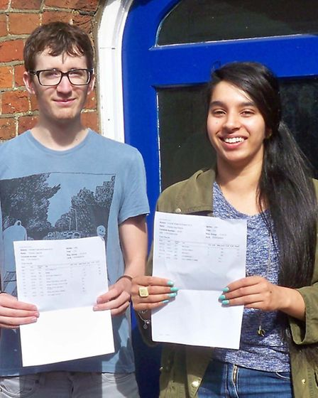 Matthew Whitby, who got a double distinction in ICT, and Shireen Basra, who achieved three As and a