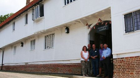 Trustees in front of the new-look Finchingfield Guildhall.