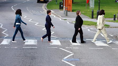 The re-creation of the iconic Fab Four image.