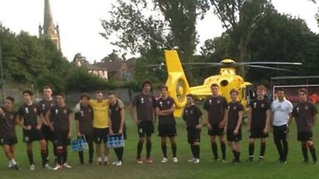 Air ambulance on the pitch at Catons Lane.