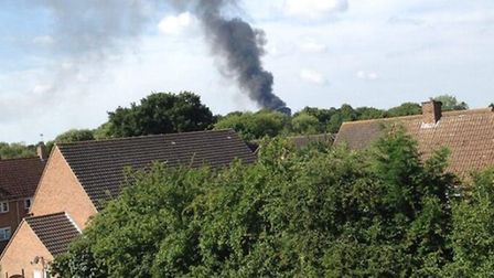 The blaze in Bush End, Takeley, as captured by Josh Sell on Twitter.