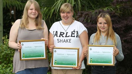 Ellie Field, Mollie Catlin and Shannon Scully with their certificates