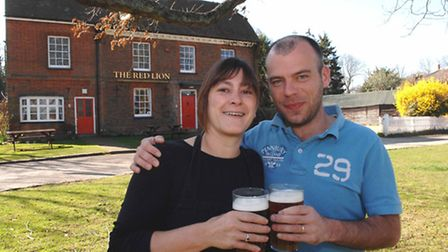 Ray and Jo Lambe, who run the Red Lion in Preston